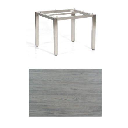 "SonnenPartner Tisch ""Base"", Gestell Edelstahl, Tischplatte HPL Vintageoptik, 90x90 cm"