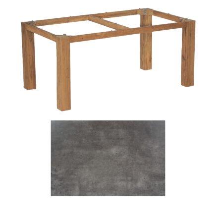 """SonnenPartner Tisch """"Base"""", Gestell Old Teak, Tischplatte HPL Beton dunkel, 160x90 cm"""