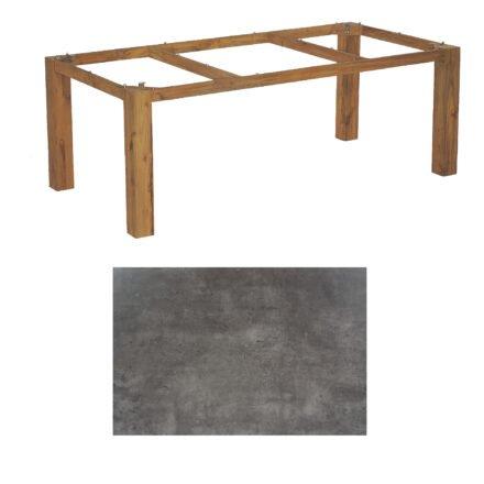 """SonnenPartner Tisch """"Base"""", Gestell Old Teak, Tischplatte HPL Beton dunkel, 200x100 cm"""