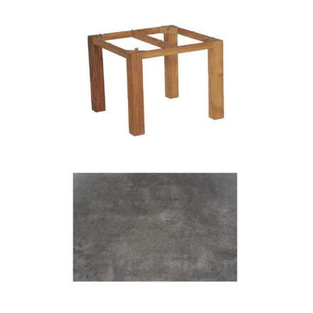 """SonnenPartner Tisch """"Base"""", Gestell Old Teak, Tischplatte HPL Beton dunkel, 90x90 cm"""