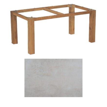 "SonnenPartner Tisch ""Base"", Gestell Old Teak, Tischplatte HPL Beton hell, 160x90 cm"