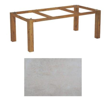"SonnenPartner Tisch ""Base"", Gestell Old Teak, Tischplatte HPL Beton hell, 200x100 cm"