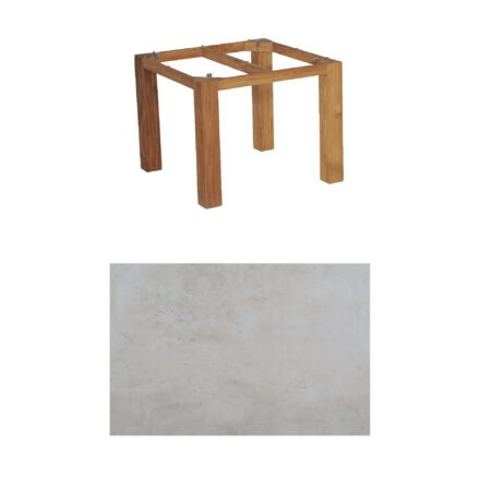 "SonnenPartner Tisch ""Base"", Gestell Old Teak, Tischplatte HPL Beton hell, 90x90 cm"