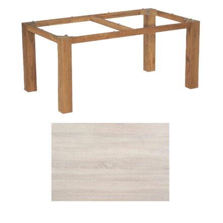 """SonnenPartner Tisch """"Base"""", Gestell Old Teak, Tischplatte HPL Eiche sägerau, 160x90 cm"""