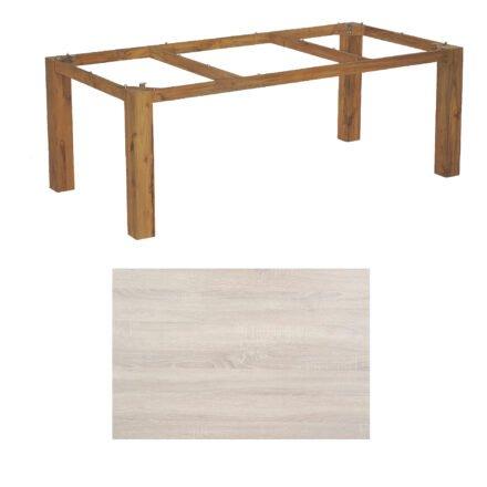 """SonnenPartner Tisch """"Base"""", Gestell Old Teak, Tischplatte HPL Eiche sägerau, 200x100 cm"""