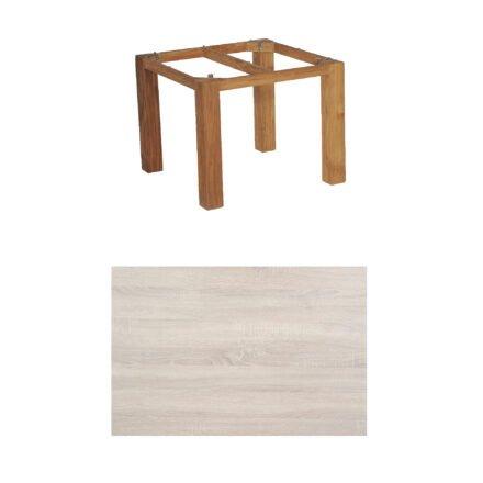 """SonnenPartner Tisch """"Base"""", Gestell Old Teak, Tischplatte HPL Eiche sägerau, 90x90 cm"""