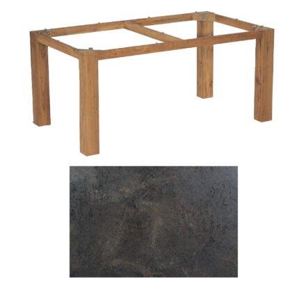 "SonnenPartner Tisch ""Base"", Gestell Old Teak, Tischplatte HPL Keramikoptik, 160x90 cm"