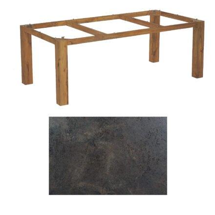 "SonnenPartner Tisch ""Base"", Gestell Old Teak, Tischplatte HPL Keramikoptik, 200x100 cm"