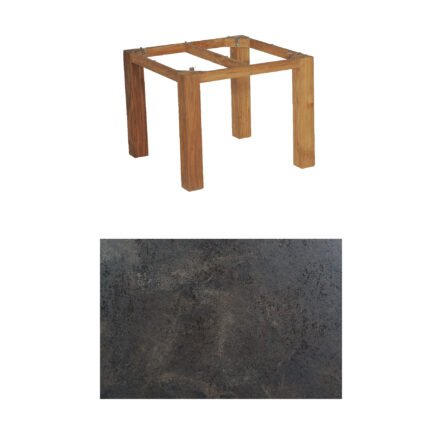 "SonnenPartner Tisch ""Base"", Gestell Old Teak, Tischplatte HPL Keramikoptik, 90x90 cm"