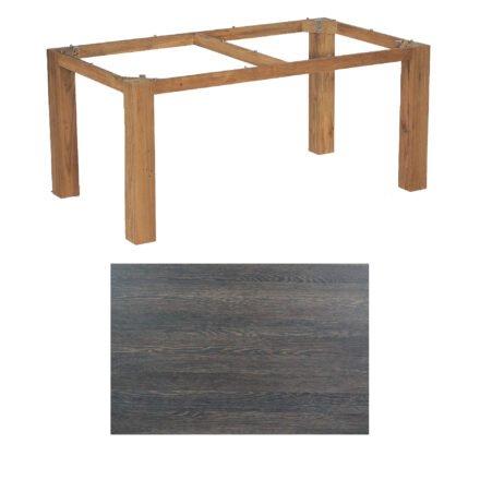"SonnenPartner Tisch ""Base"", Gestell Old Teak, Tischplatte HPL Mali wenge, 160x90 cm"