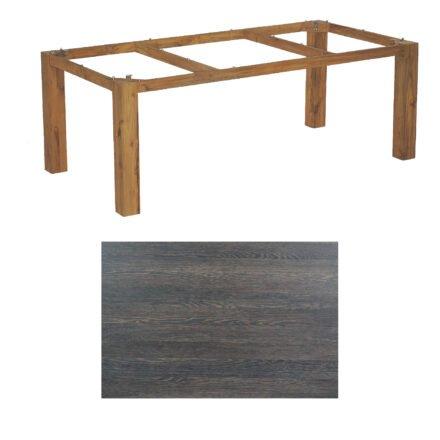"SonnenPartner Tisch ""Base"", Gestell Old Teak, Tischplatte HPL Mali wenge, 200x100 cm"