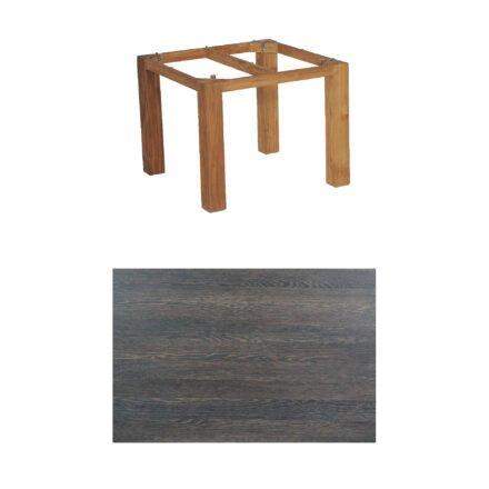 "SonnenPartner Tisch ""Base"", Gestell Old Teak, Tischplatte HPL Mali wenge, 90x90 cm"
