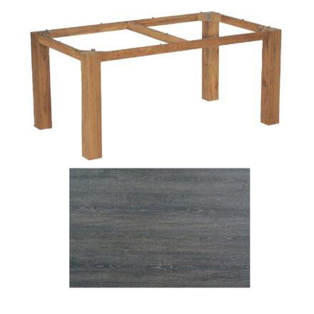 """SonnenPartner Tisch """"Base"""", Gestell Old Teak, Tischplatte HPL Pinie dunkel, 160x90 cm"""