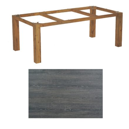 """SonnenPartner Tisch """"Base"""", Gestell Old Teak, Tischplatte HPL Pinie dunkel, 200x100 cm"""