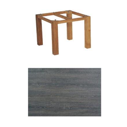 """SonnenPartner Tisch """"Base"""", Gestell Old Teak, Tischplatte HPL Pinie dunkel, 90x90 cm"""