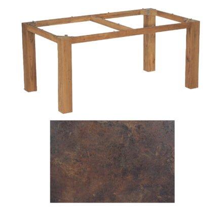 "SonnenPartner Tisch ""Base"", Gestell Old Teak, Tischplatte HPL Rostoptik, 160x90 cm"
