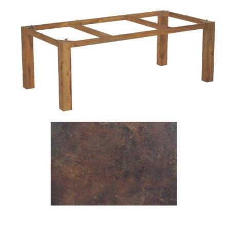 "SonnenPartner Tisch ""Base"", Gestell Old Teak, Tischplatte HPL Rostoptik, 200x100 cm"