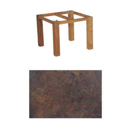 "SonnenPartner Tisch ""Base"", Gestell Old Teak, Tischplatte HPL Rostoptik, 90x90 cm"