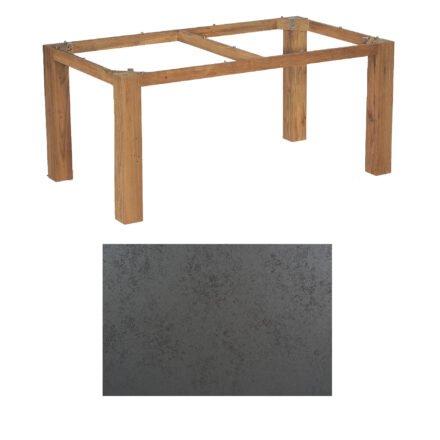 """SonnenPartner Tisch """"Base"""", Gestell Old Teak, Tischplatte HPL Struktura anthrazit, 160x90 cm"""