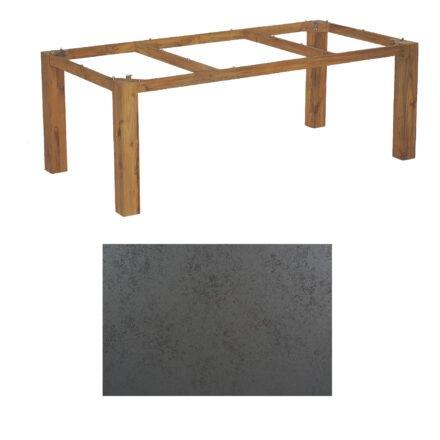"""SonnenPartner Tisch """"Base"""", Gestell Old Teak, Tischplatte HPL Struktura anthrazit, 200x100 cm"""