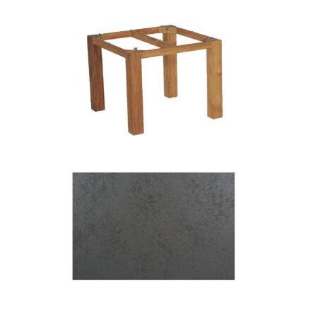 """SonnenPartner Tisch """"Base"""", Gestell Old Teak, Tischplatte HPL Struktura anthrazit, 90x90 cm"""