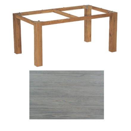 """SonnenPartner Tisch """"Base"""", Gestell Old Teak, Tischplatte HPL Vintageoptik, 160x90 cm"""