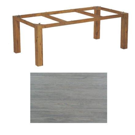 """SonnenPartner Tisch """"Base"""", Gestell Old Teak, Tischplatte HPL Vintageoptik, 200x100 cm"""