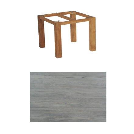 """SonnenPartner Tisch """"Base"""", Gestell Old Teak, Tischplatte HPL Vintageoptik, 90x90 cm"""