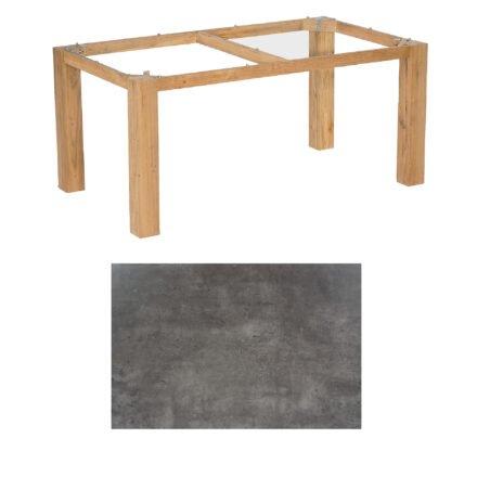 "SonnenPartner Tisch ""Base"", Gestell Pure Teak, Tischplatte HPL Beton dunkel, 160x90 cm"