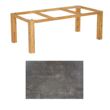 "SonnenPartner Tisch ""Base"", Gestell Pure Teak, Tischplatte HPL Beton dunkel, 200x100 cm"