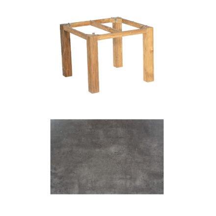 "SonnenPartner Tisch ""Base"", Gestell Pure Teak, Tischplatte HPL Beton dunkel, 90x90 cm"