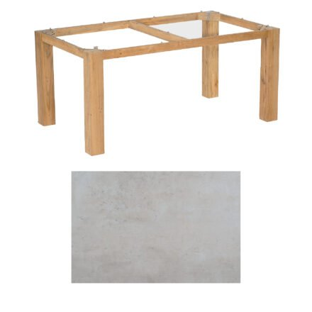 "SonnenPartner Tisch ""Base"", Gestell Pure Teak, Tischplatte HPL Beton hell, 160x90 cm"