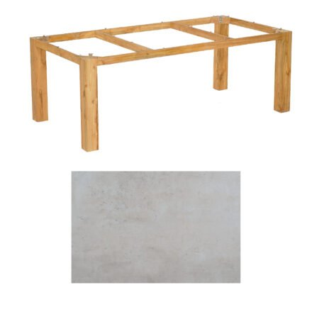 "SonnenPartner Tisch ""Base"", Gestell Pure Teak, Tischplatte HPL Beton hell, 200x100 cm"