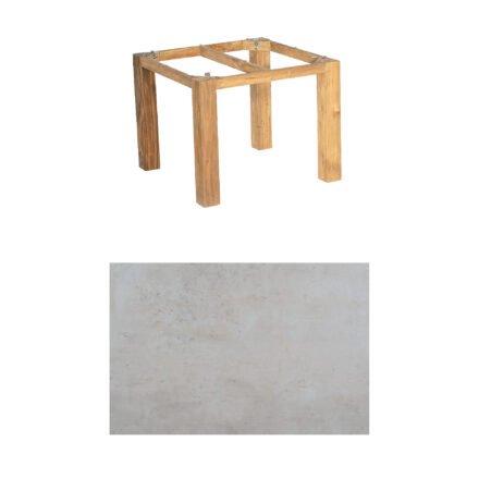 "SonnenPartner Tisch ""Base"", Gestell Pure Teak, Tischplatte HPL Beton hell, 90x90 cm"