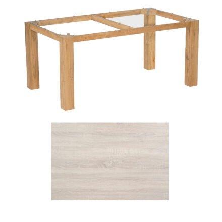 """SonnenPartner Tisch """"Base"""", Gestell Pure Teak, Tischplatte HPL Eiche sägerau, 160x90 cm"""