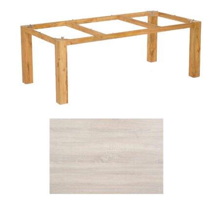 """SonnenPartner Tisch """"Base"""", Gestell Pure Teak, Tischplatte HPL Eiche sägerau, 200x100 cm"""