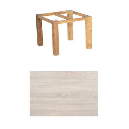 """SonnenPartner Tisch """"Base"""", Gestell Pure Teak, Tischplatte HPL Eiche sägerau, 90x90 cm"""