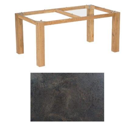 "SonnenPartner Tisch ""Base"", Gestell Pure Teak, Tischplatte HPL Keramikoptik, 160x90 cm"