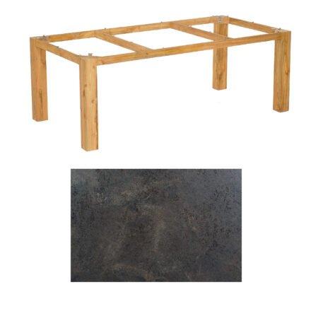 "SonnenPartner Tisch ""Base"", Gestell Pure Teak, Tischplatte HPL Keramikoptik, 200x100 cm"