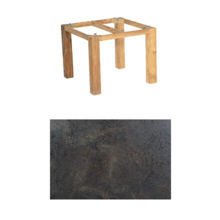 "SonnenPartner Tisch ""Base"", Gestell Pure Teak, Tischplatte HPL Keramikoptik, 90x90 cm"