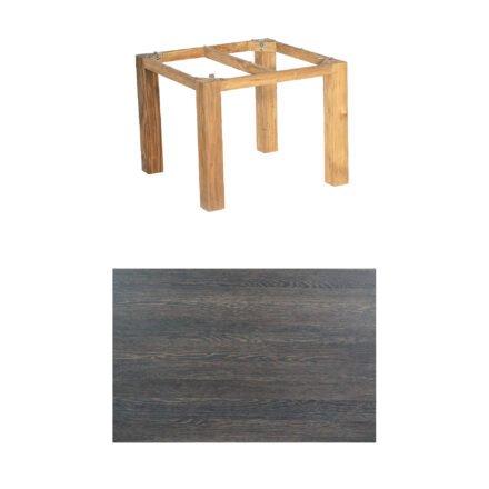 """SonnenPartner Tisch """"Base"""", Gestell Pure Teak, Tischplatte HPL Mali wenge, 90x90 cm"""