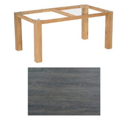 """SonnenPartner Tisch """"Base"""", Gestell Pure Teak, Tischplatte HPL Pinie dunkel, 160x90 cm"""