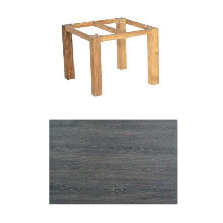 """SonnenPartner Tisch """"Base"""", Gestell Pure Teak, Tischplatte HPL Pinie dunkel, 90x90 cm"""