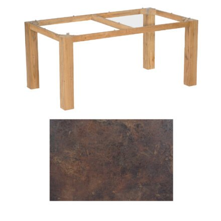 "SonnenPartner Tisch ""Base"", Gestell Pure Teak, Tischplatte HPL Rostoptik, 160x90 cm"