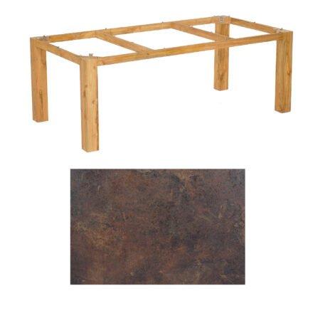 "SonnenPartner Tisch ""Base"", Gestell Pure Teak, Tischplatte HPL Rostoptik, 200x100 cm"