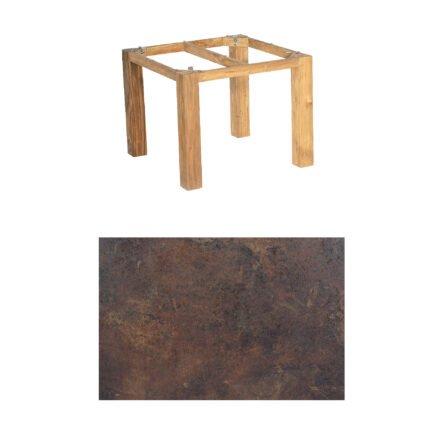 "SonnenPartner Tisch ""Base"", Gestell Pure Teak, Tischplatte HPL Rostoptik, 90x90 cm"