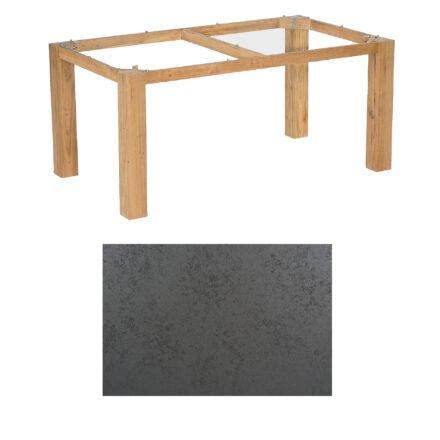 """SonnenPartner Tisch """"Base"""", Gestell Pure Teak, Tischplatte HPL Struktura anthrazit, 160x90 cm"""