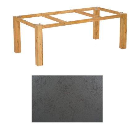 """SonnenPartner Tisch """"Base"""", Gestell Pure Teak, Tischplatte HPL Struktura anthrazit, 200x100 cm"""