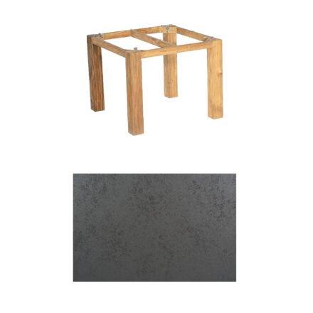 """SonnenPartner Tisch """"Base"""", Gestell Pure Teak, Tischplatte HPL Struktura anthrazit, 90x90 cm"""