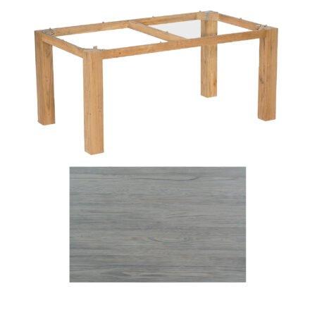 """SonnenPartner Tisch """"Base"""", Gestell Pure Teak, Tischplatte HPL Vintageoptik, 160x90 cm"""